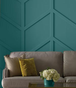 Dimensional wall feature painted with Beauti-Tone paint at Kelowna Home Hardware.