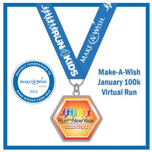 The finisher's medal for the 100km virtual run