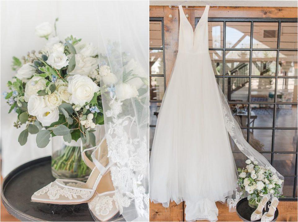 Bella Belle bridal shoes with Belle Vogue Bridal KC classic a line dress - KC Missouri Wedding Photographer