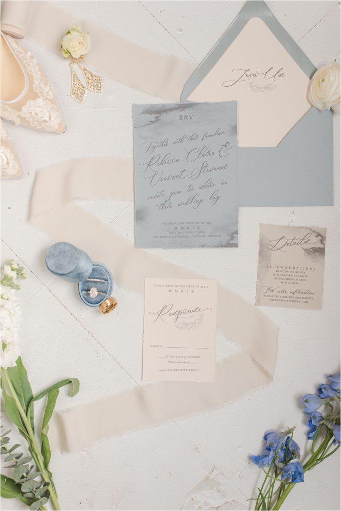 Yellowbrick Graphics dusty blue wedding invitation suite - KC Missouri wedding photographer