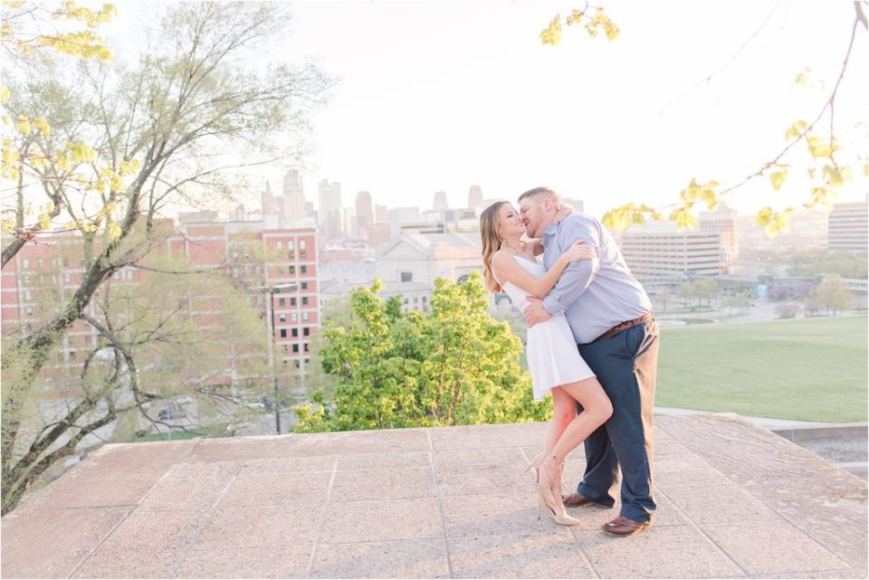 Kansas City Spring sunrise engagement session at Liberty Memorial