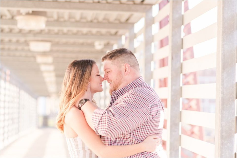 Kansas City Spring sunrise engagement session at the Union Station pedestrian bridge