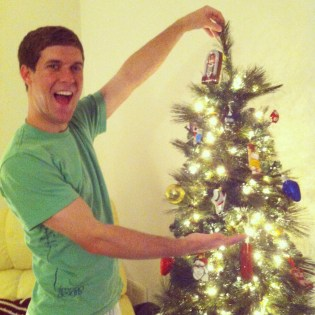 Decorating our first Christmas tree as a married couple (December 2012)