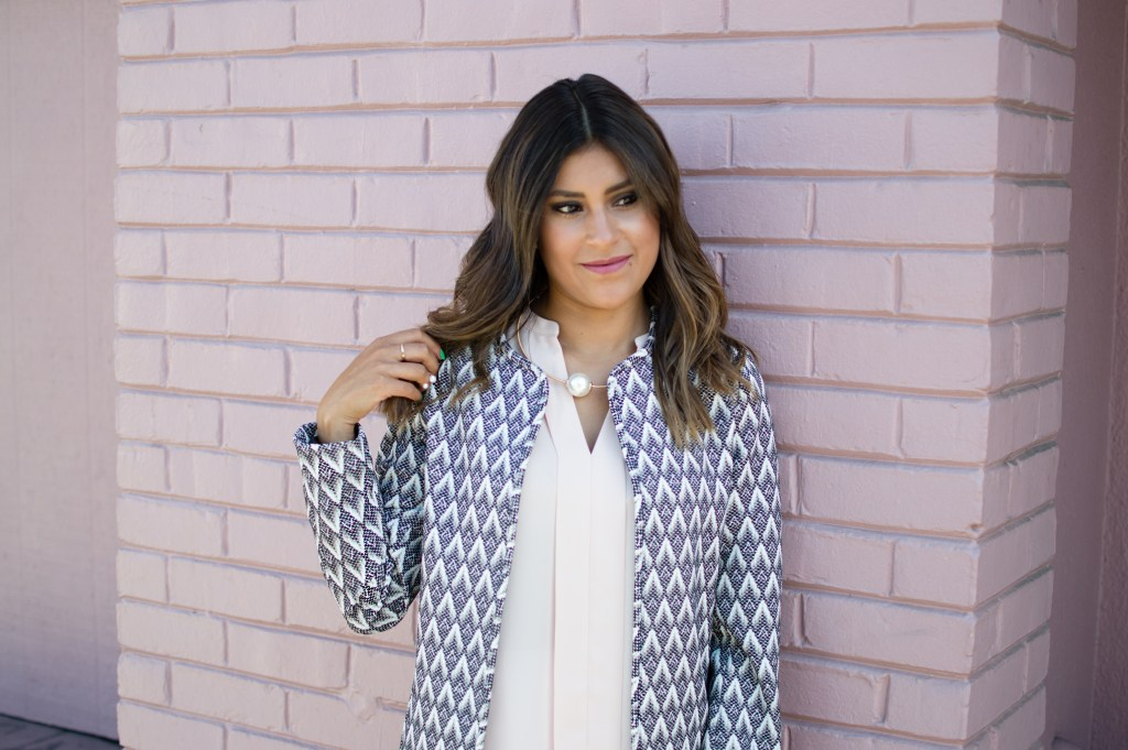 black and white patterned jacket