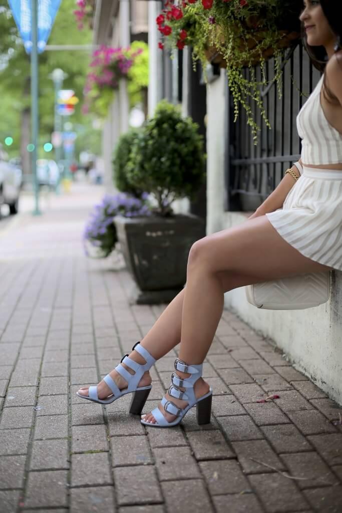 Lifestyle blogger Kelsey Kaplan of Kelsey Kaplan Fashion wearing two-piece set and buckle sandals
