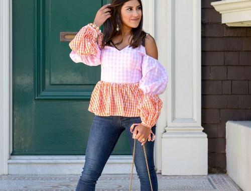 Lifestyle blogger Kelsey Kaplan of Kelsey Kaplan Fashion wearing white sandals and pink gingham blouse
