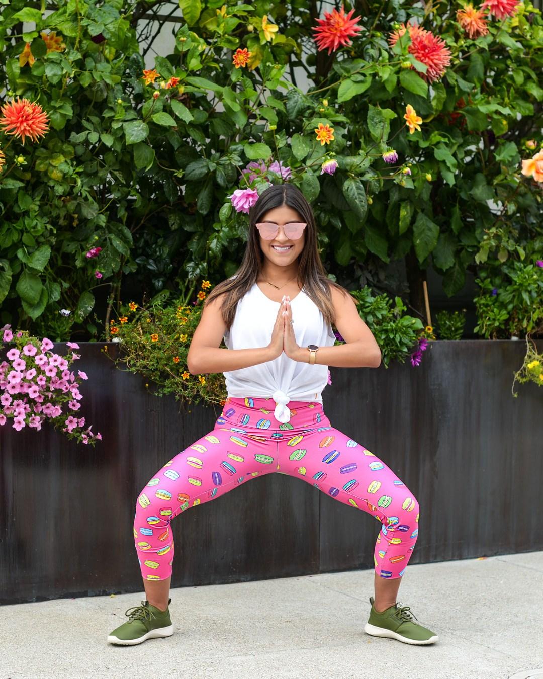 Lifestyle blogger Kelsey Kaplan of Kelsey Kaplan Fashion wearing green Nike sneakers and New Orleans Yoga Apparel