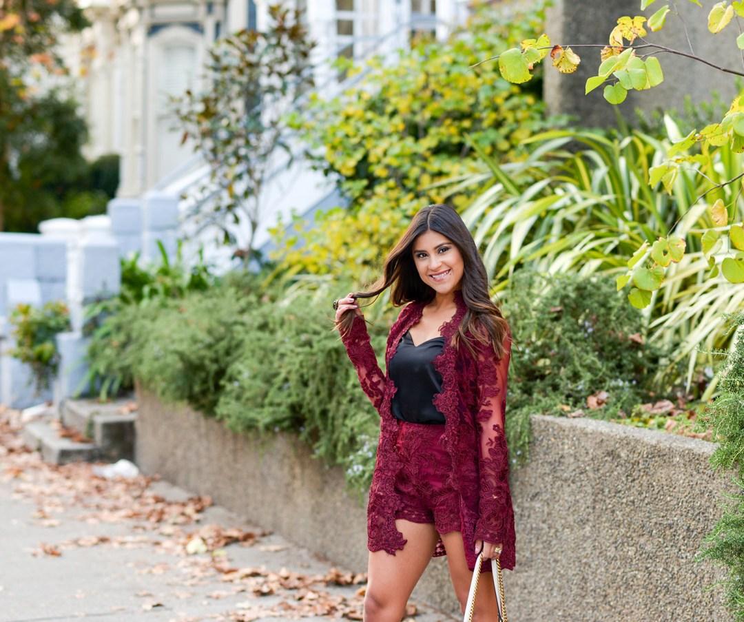 Lifestyle blogger Kelsey Kaplan of Kelsey Kaplan Fashion wearing burgundy lace set from Current Clothing San Francisco