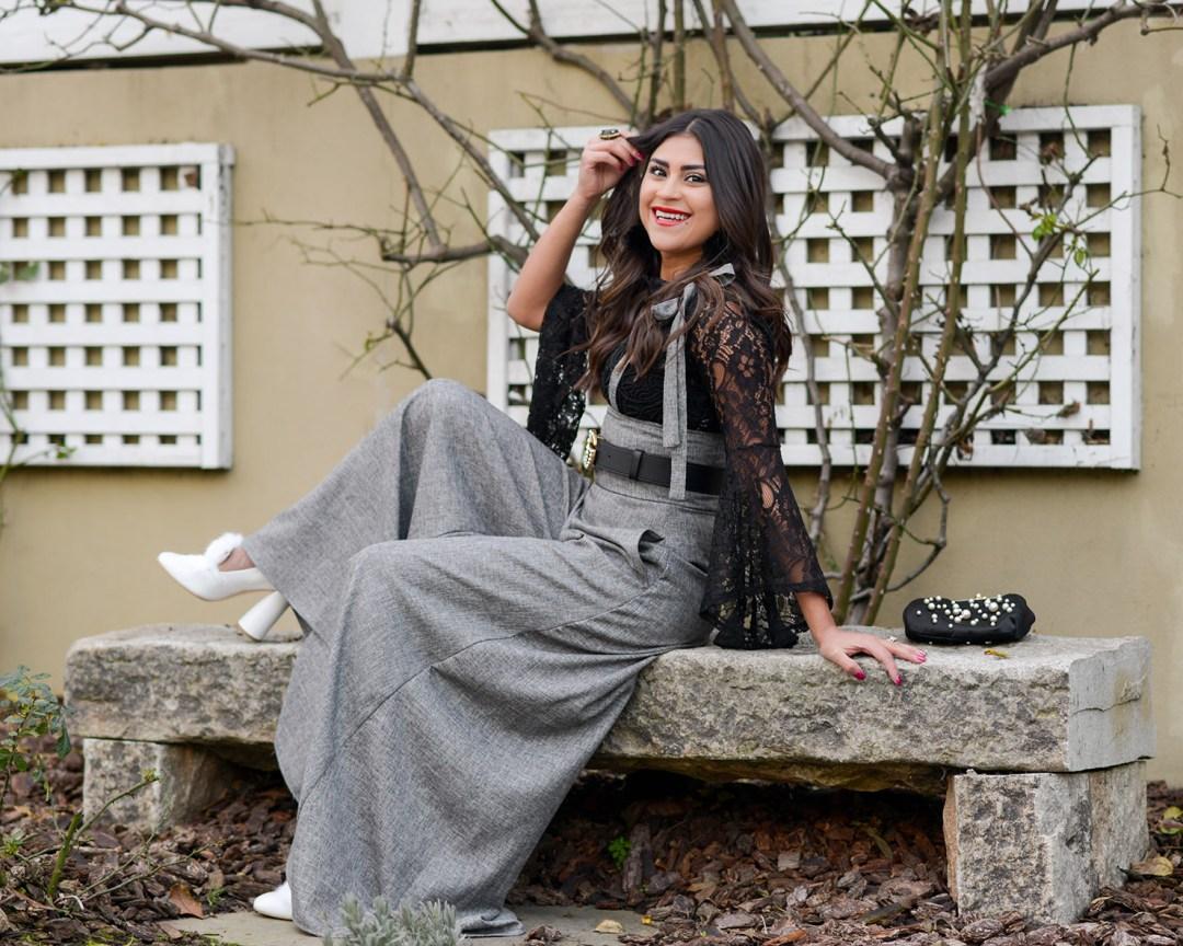 Lifestyle blogger Kelsey Kaplan of Kelsey Kaplan Fashion wearing wide leg culottes and pearl gucci belt
