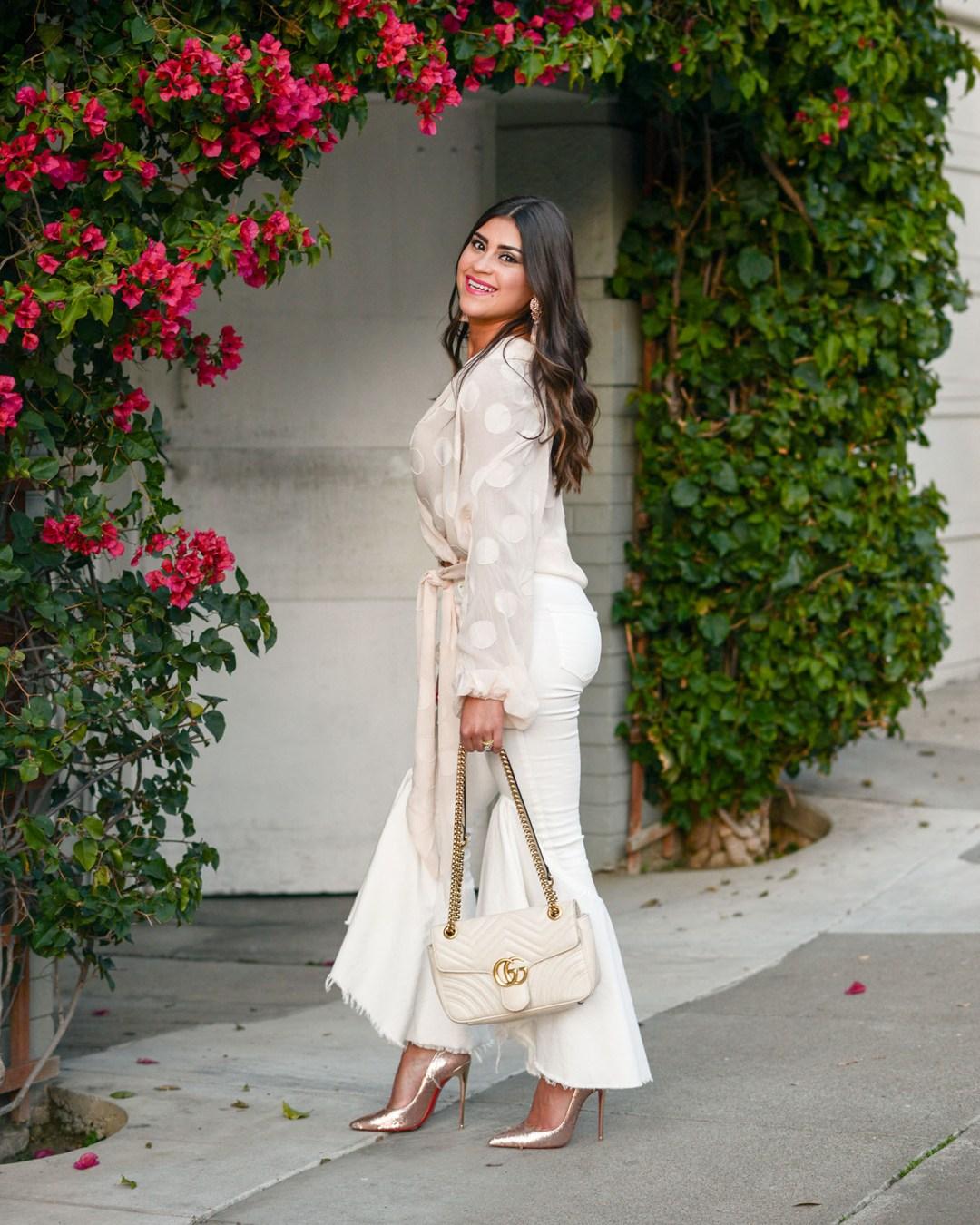 lifestyle blogger Kelsey Kaplan of Kelsey Kaplan Fashion wearing neutral outfit and sequin Christian Louboutin stilettos