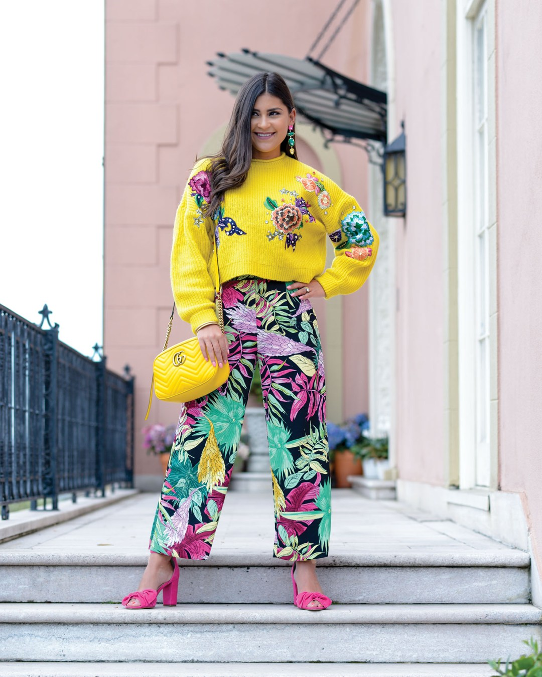 Lifestyle Blogger Kelsey Kaplan of Kelsey Kaplan Fashion wearing palm print pants and yellow gucci purse