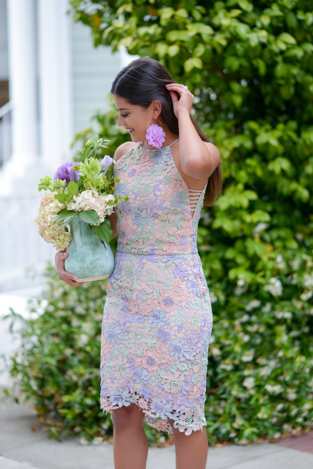 Lifestyle blogger Kelsey Kaplan of Kelsey Kaplan Fashion wearing Adelyn Rae Lace Floral wedding guest dress and Stuart Weitzman sandals