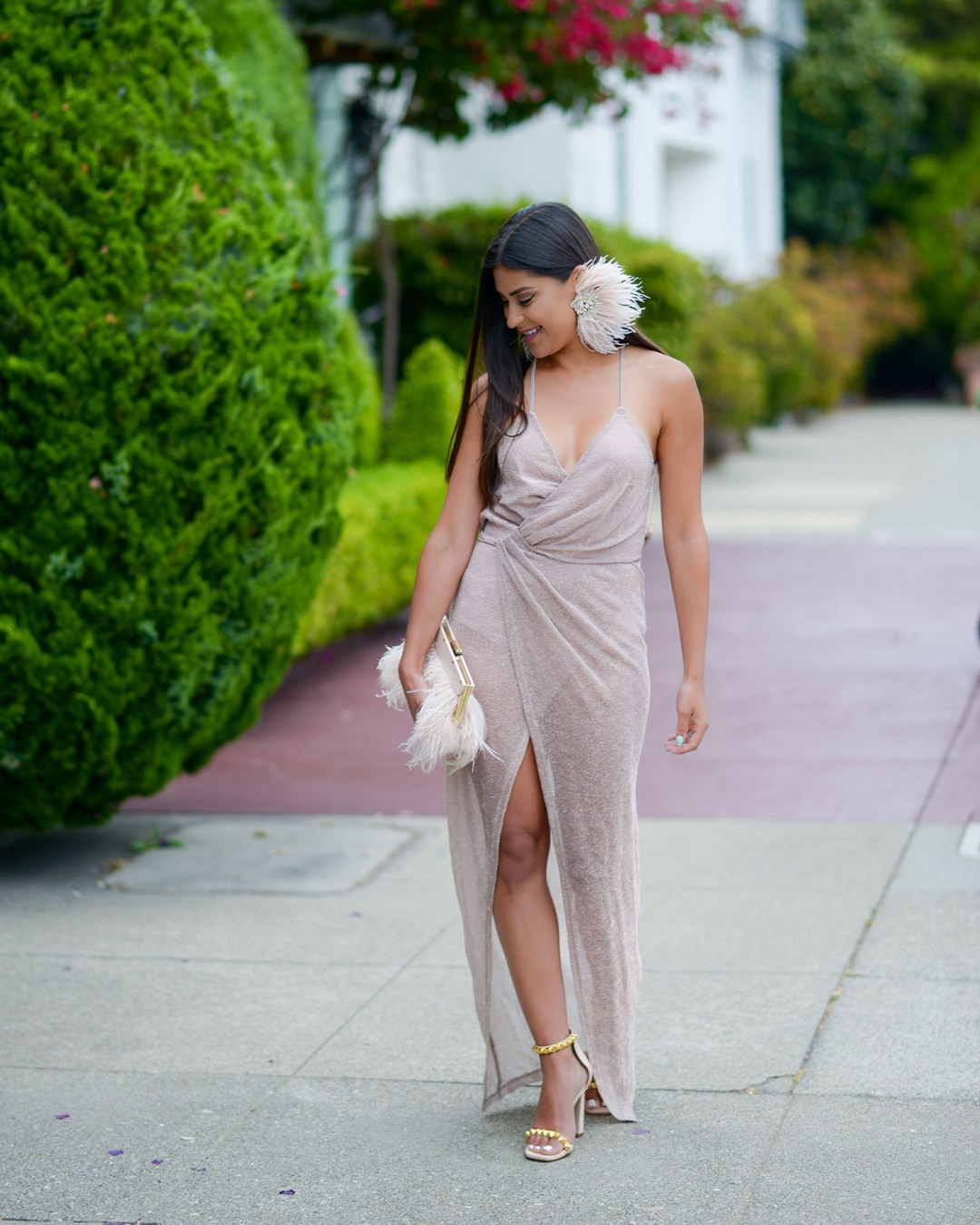 Lifestyle Blogger Kelsey Kaplan of Kelsey Kaplan Fashion wearing rose gold wrap dress and Stuart Weitzman sandals