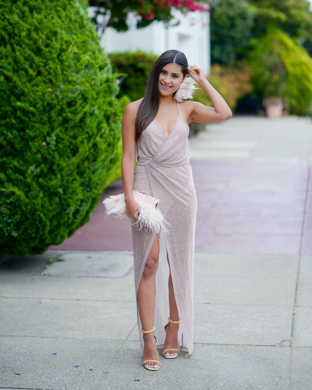 Lifestyle Blogger Kelsey Kaplan of Kelsey Kaplan Fashion wearing rose gold wrap dress and Stuart Weitzman sandals