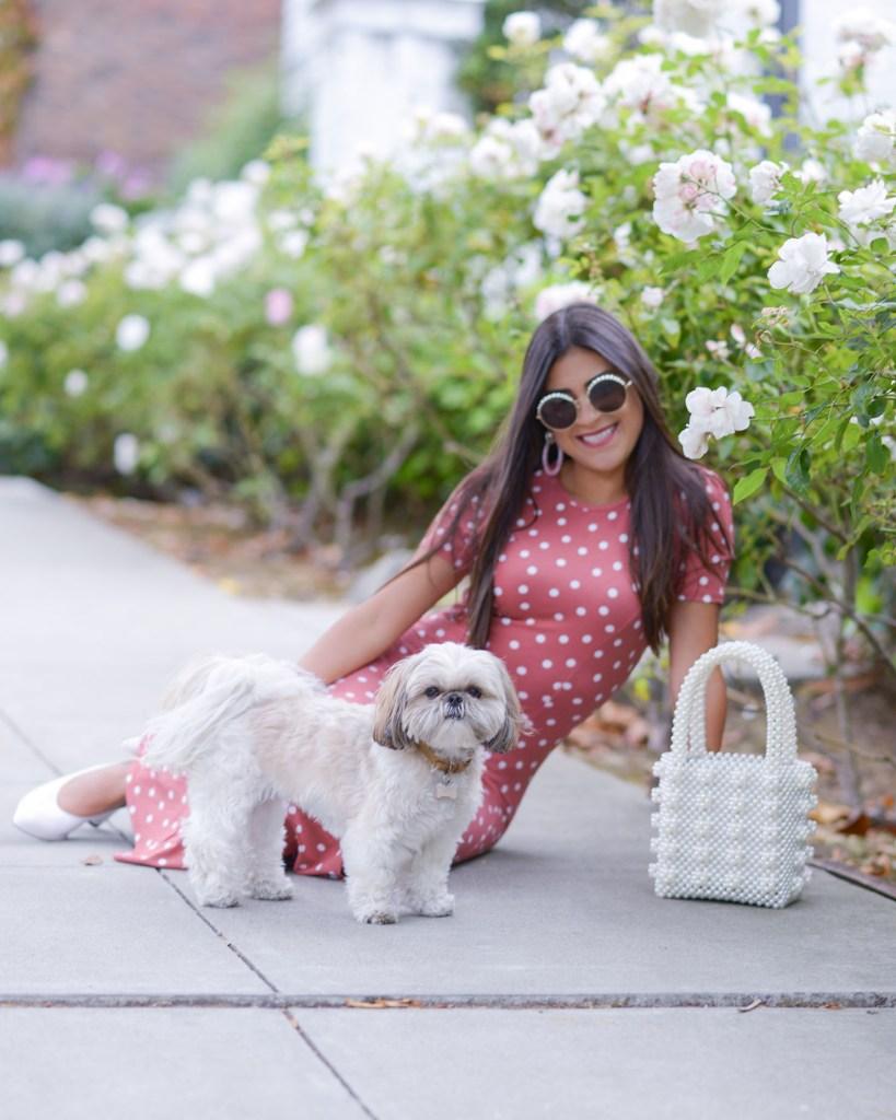 Lifestyle blogger Kelsey Kaplan of Kelsey Kaplan Fashion wearing polka dot dress and pearl chanel sunglasses