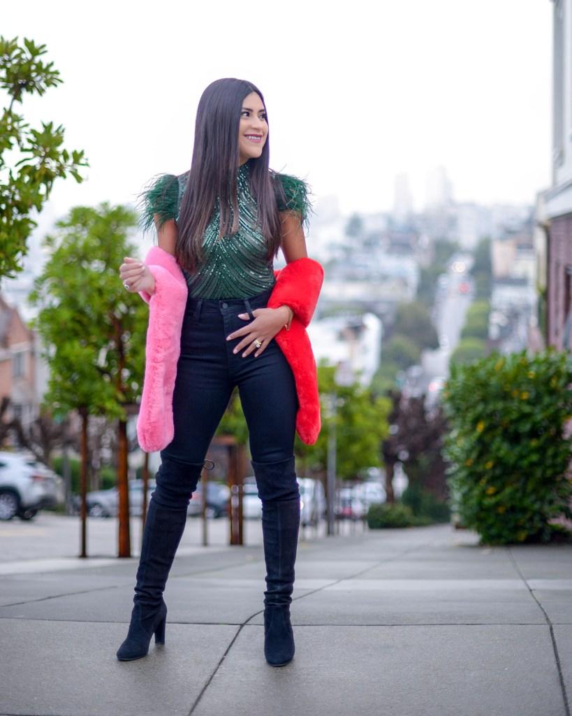 Lifestyle blogger Kelsey Kaplan of Kelsey Kaplan Fashion wearing  sequin feather bodysuit date night attire