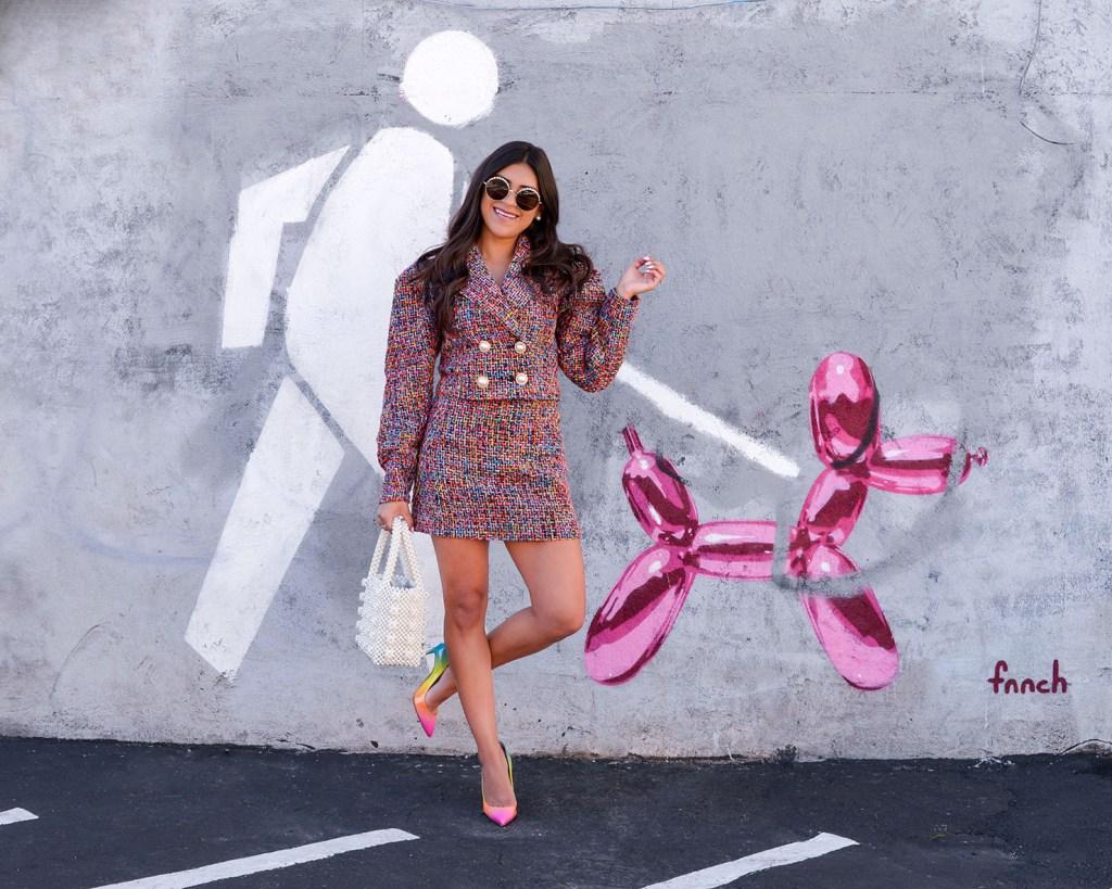 Lifestyle blogger Kelsey Kaplan of Kelsey Kaplan Fashion wearing rainbow tweed suit and rainbow Louboutins
