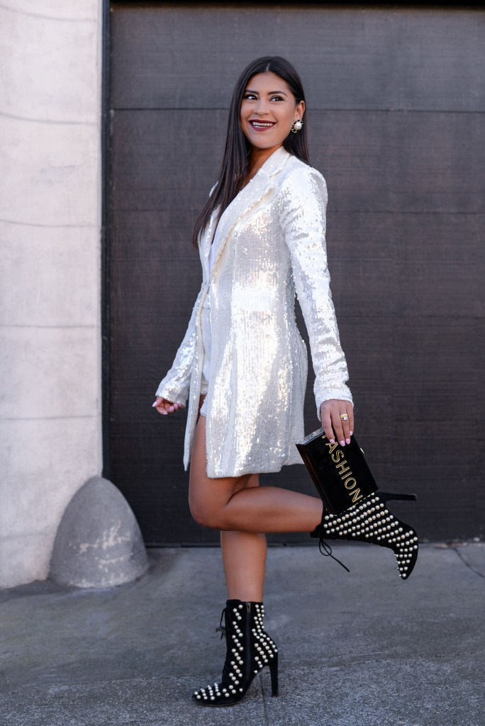 Lifestyle blogger Kelsey Kaplan of Kelsey Kaplan Fashion wears sequin suit and pearl booties.