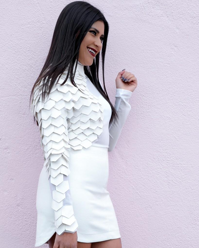 Lifestyle blogger Kelsey Kaplan of Kelsey Kaplan Fashion wearing white sheer bodysuit.