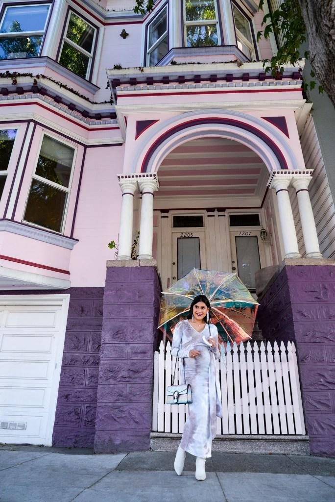 Lifestyle blogger Kelsey Kaplan of Kelsey Kaplan Fashion wearing tie dye maternity dress from Bump Biddy.