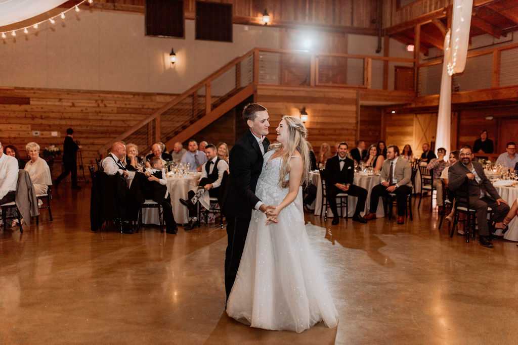 bride and groom dancing during reception after perfect wedding day using wedding day timeline