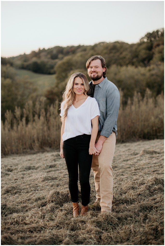 couple posing during engagements