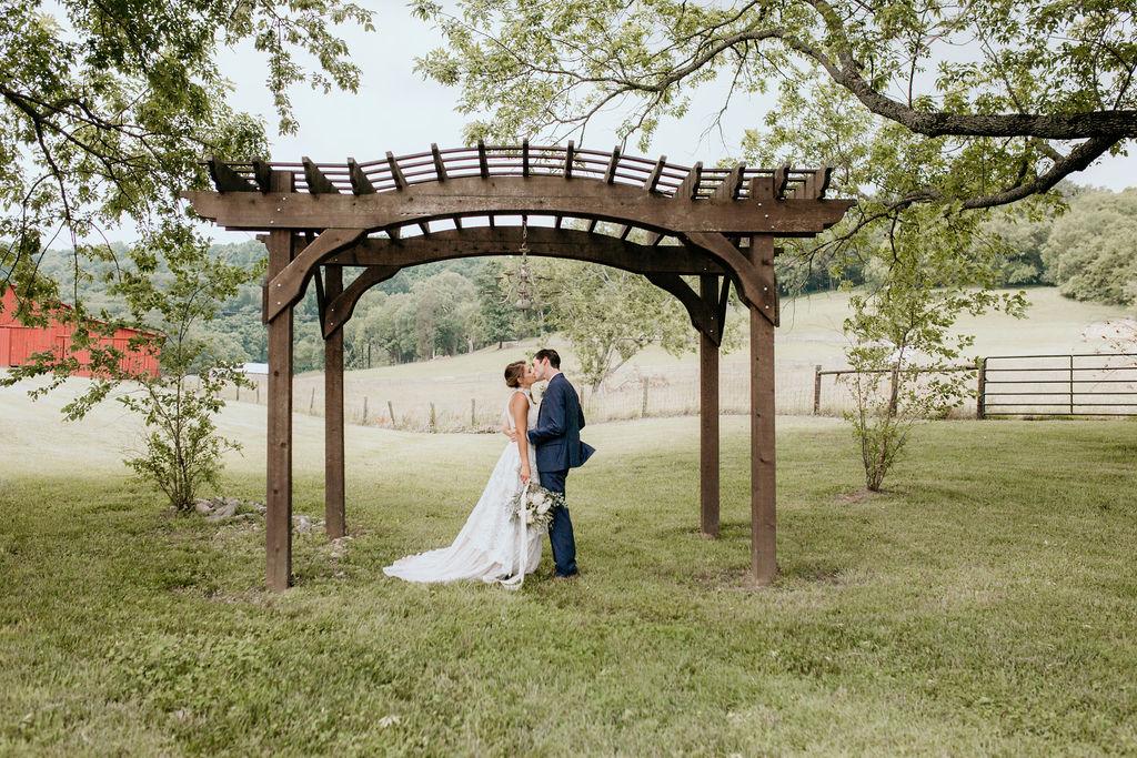 couple kissing during outdoor bridals session in tennessee wedding after using wedding day timeline