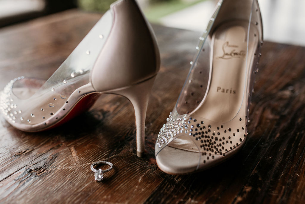 bride's shoes in detail wedding shot
