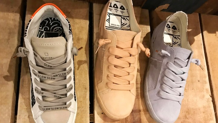 Dolce Vita Zane Sneakers; mid top on left, low-top in Petal Peach tones and Cyan blue.