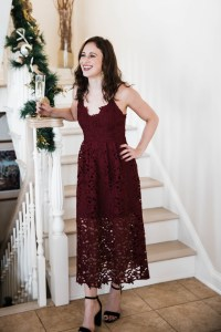 lace dress, red dress, winter wedding guest, midi dress, under $100, black strappy heels from Target, Champagne , Christmas season