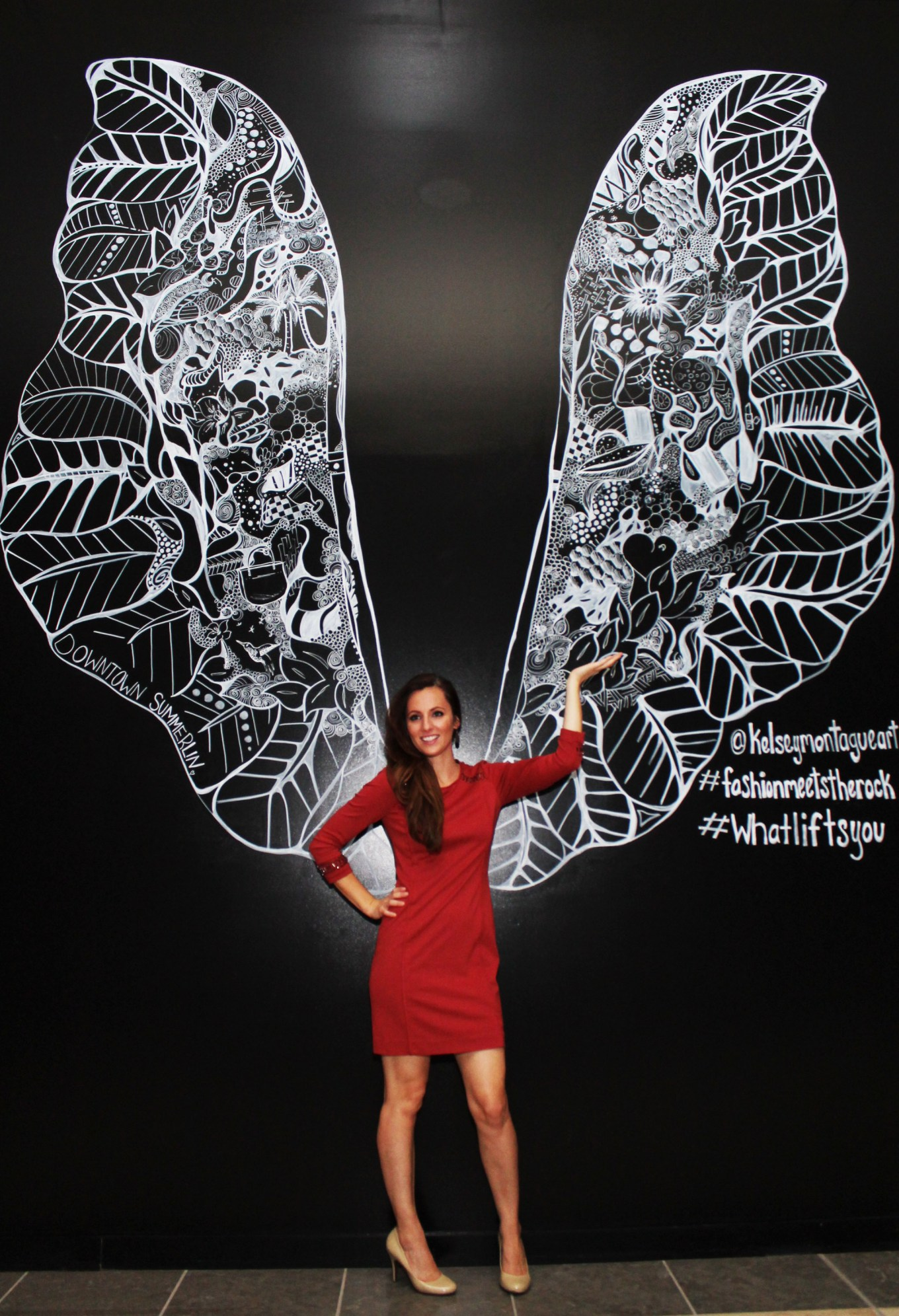 Kelsey Montague Art wings Red Dress