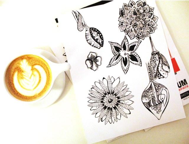 Flowers in latte