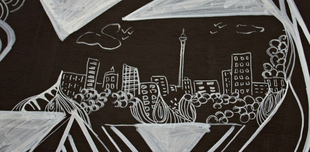 Auckland Skyline- By Kelsey Montague Art
