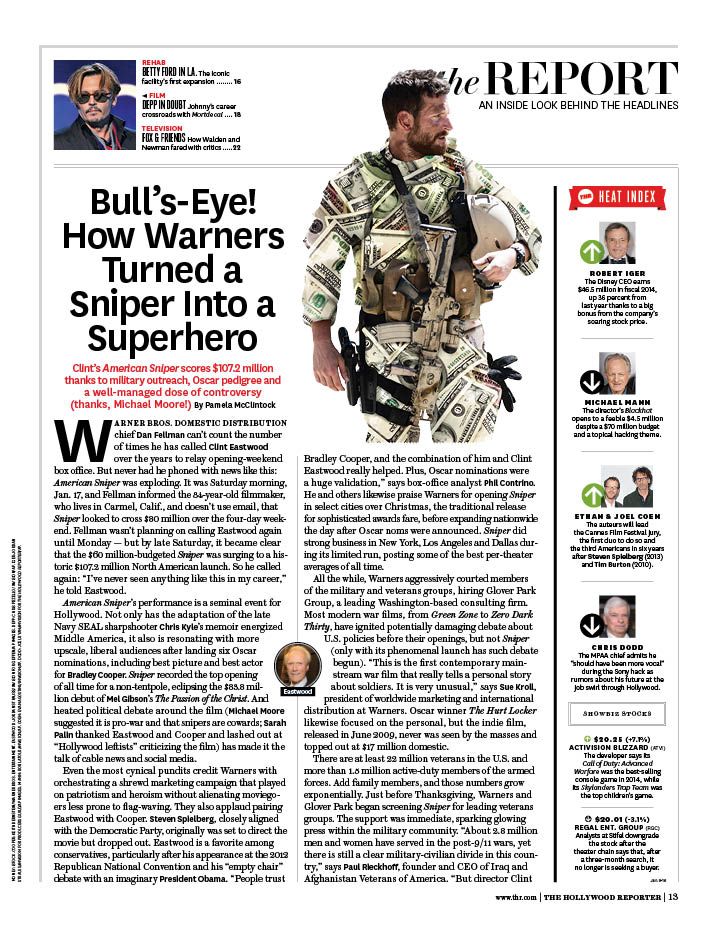 How Warners Turned Sniper Into a Superhero / The Hollywood Reporter / 1.30.15 / kelsey stefanson / art direction + graphic design / yeskelsey.com