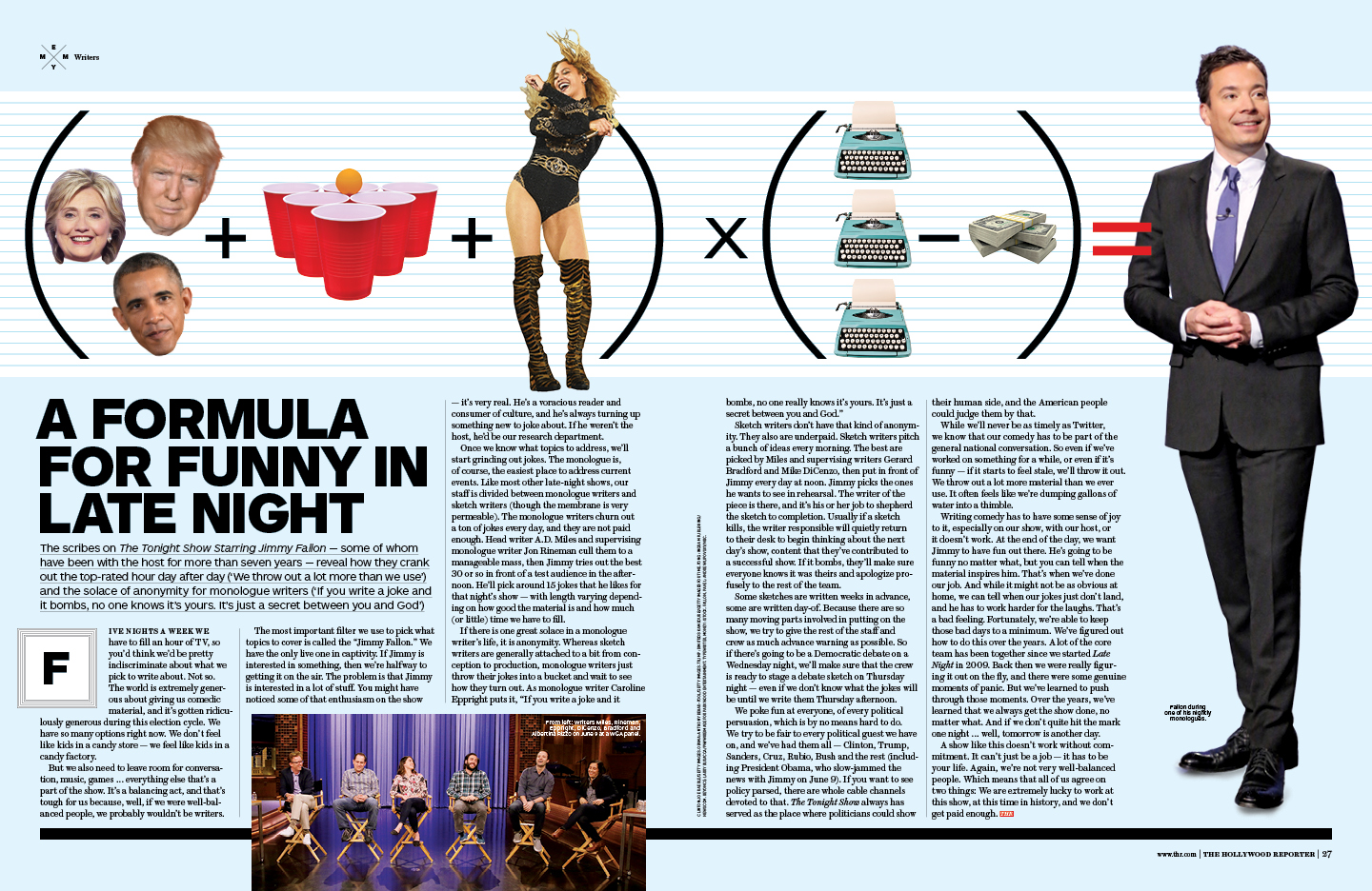 A Formula For Funny in Late Night / The Hollywood Reporter / June 2016 / kelsey stefanson / art direction + graphic design / yeskelsey.com