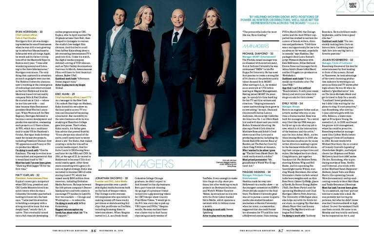 Next Gen 2016 / The Hollywood Reporter / 11.18.16 / kelsey stefanson / art direction + graphic design / yeskelsey.com