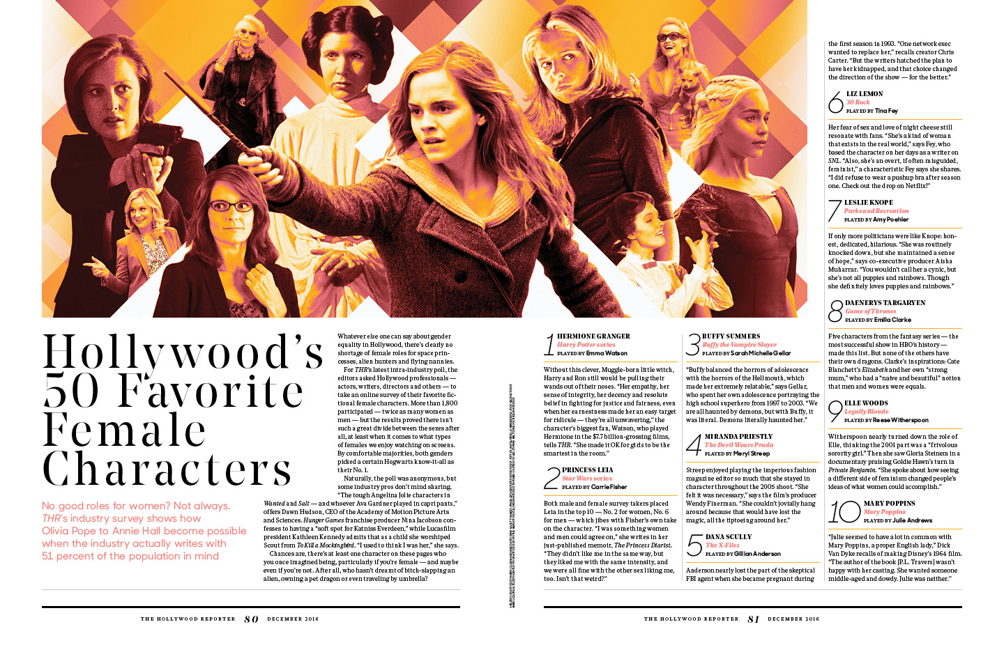 Hollywood's 50 Favorite Female Characters / The Hollywood Reporter / WIE 2016 / kelsey stefanson / art direction + graphic design / yeskelsey.com