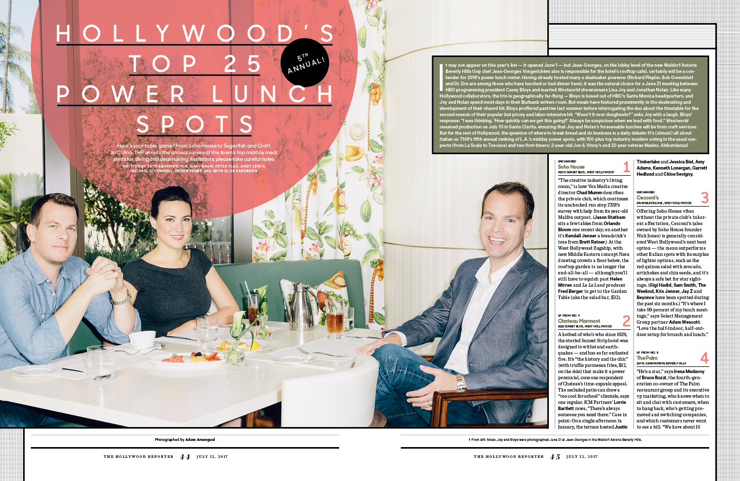 Hollywood's (5th Annual!) Top 25 Power Lunch Spots / The Hollywood Reporter / 7.12.17 / kelsey stefanson / art direction + graphic design / yeskelsey.com
