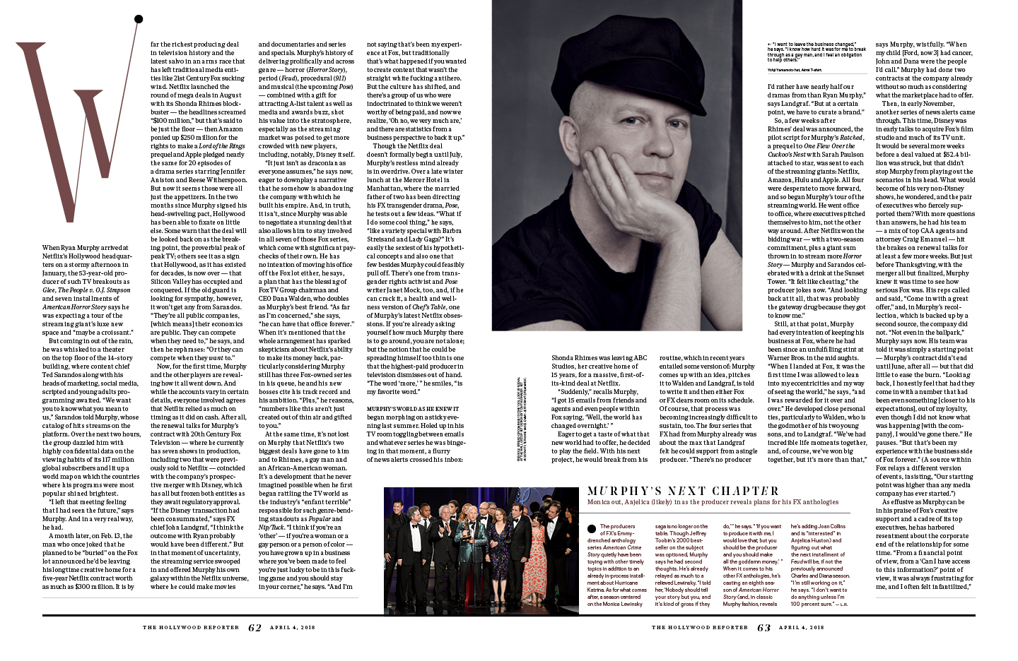 Ryan Murphy / The Hollywood Reporter / 4.4.18 / kelsey stefanson / art direction + graphic design / yeskelsey.com