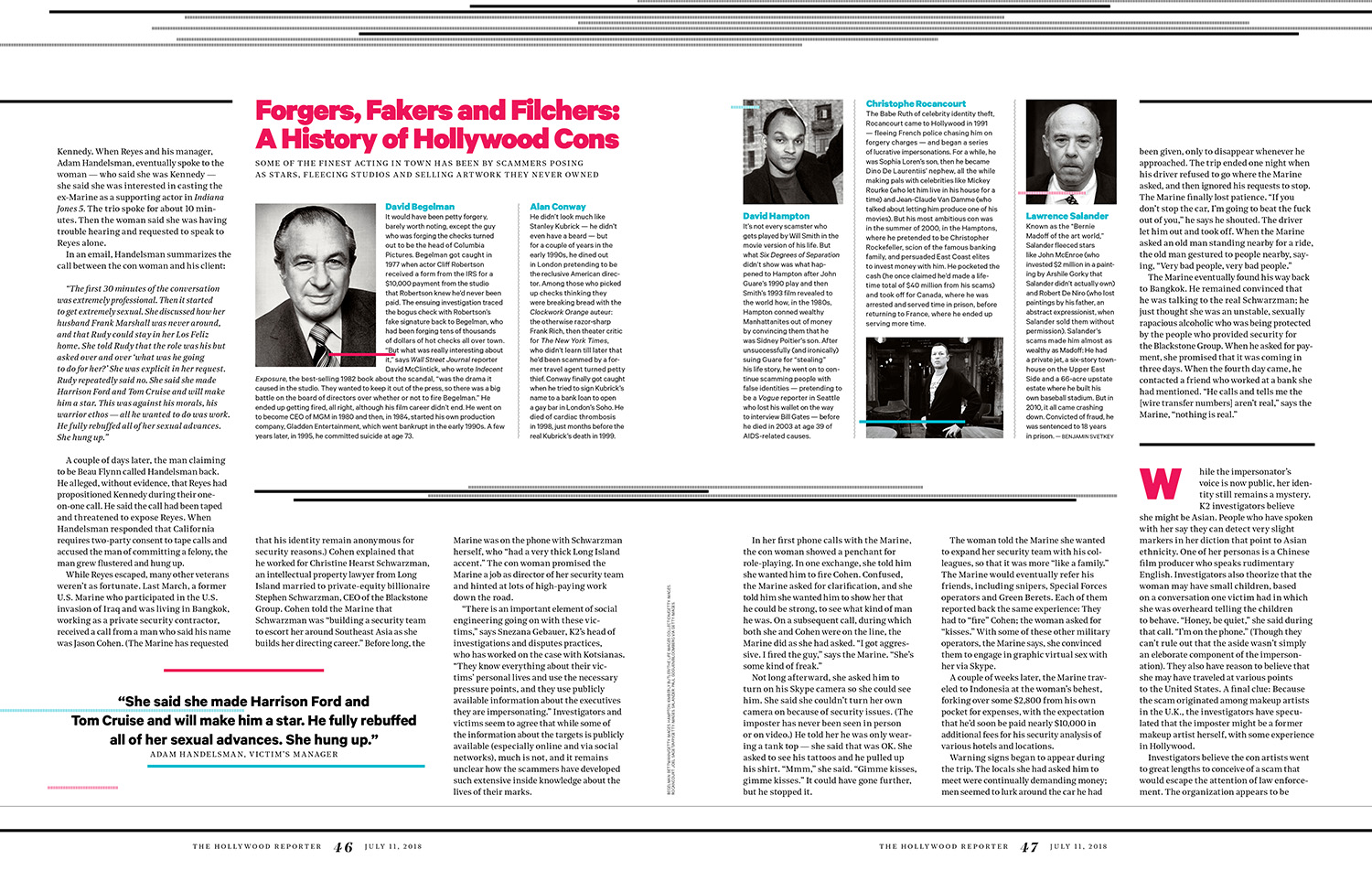 Hunting the Con Queen of Hollywood / The Hollywood Reporter / 7.13.18 / kelsey stefanson / art direction + graphic design / yeskelsey.com