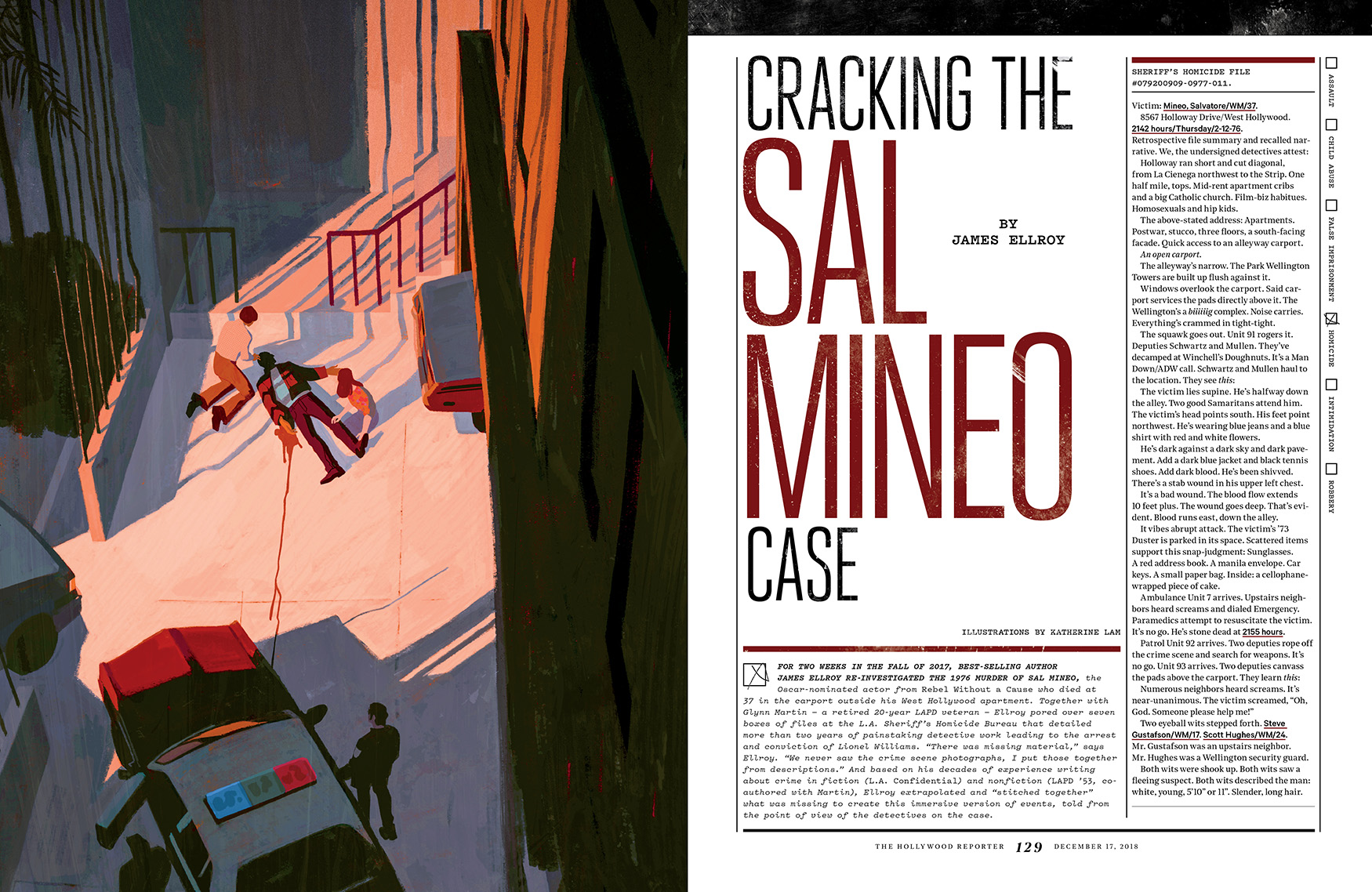 Cracking the Sal Mineo Case / The Hollywood Reporter / 12.17.18 / kelsey stefanson / art direction + graphic design / yeskelsey.com