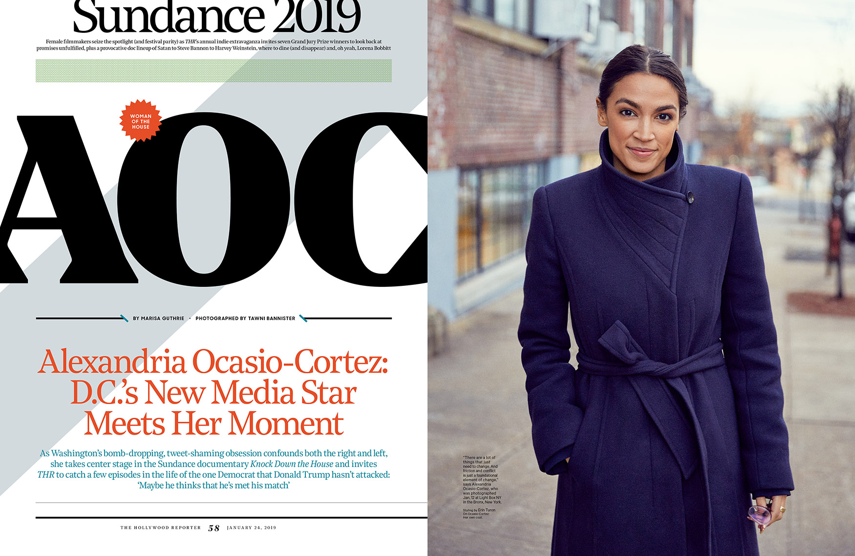 Alexandria Ocasio-Cortez and 2019 Sundance Film Festival / The Hollywood Reporter / kelsey stefanson / art direction + graphic design / yeskelsey.com