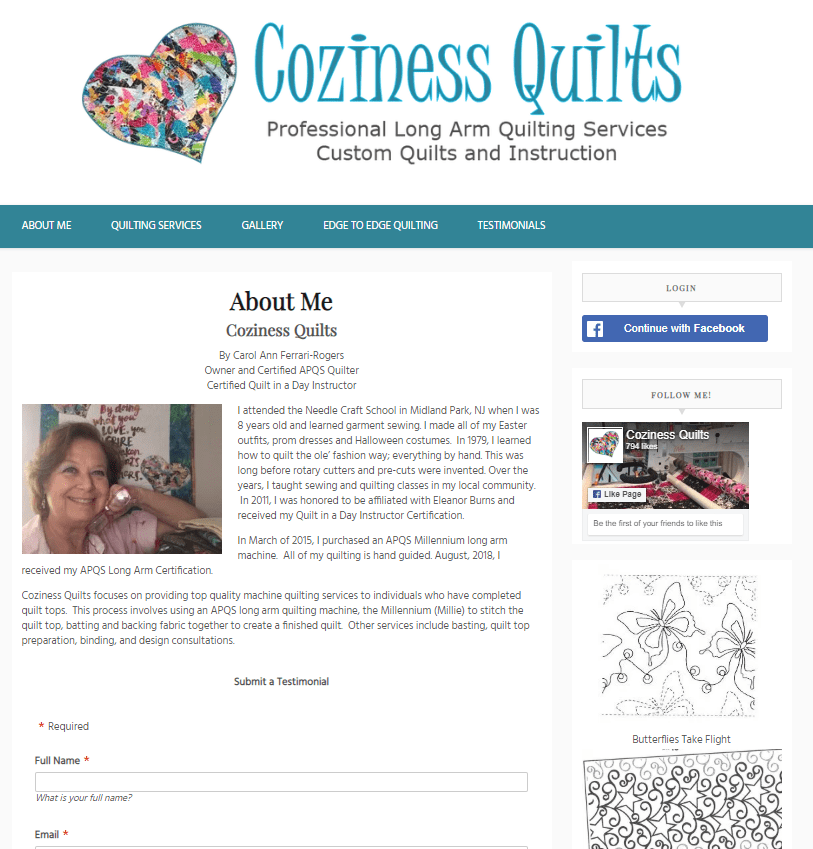 Coziness Quilts Website