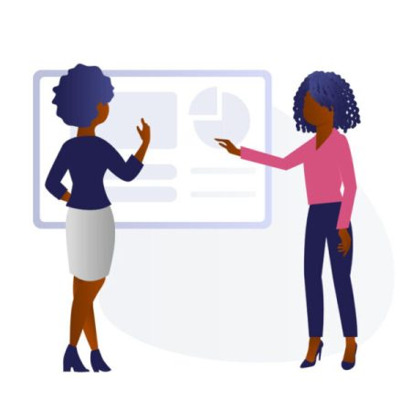 Black Illustrations Black women in front of whiteboard