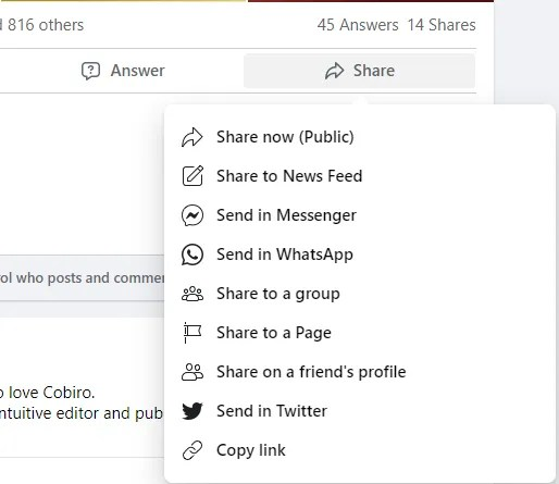 share content on facebook