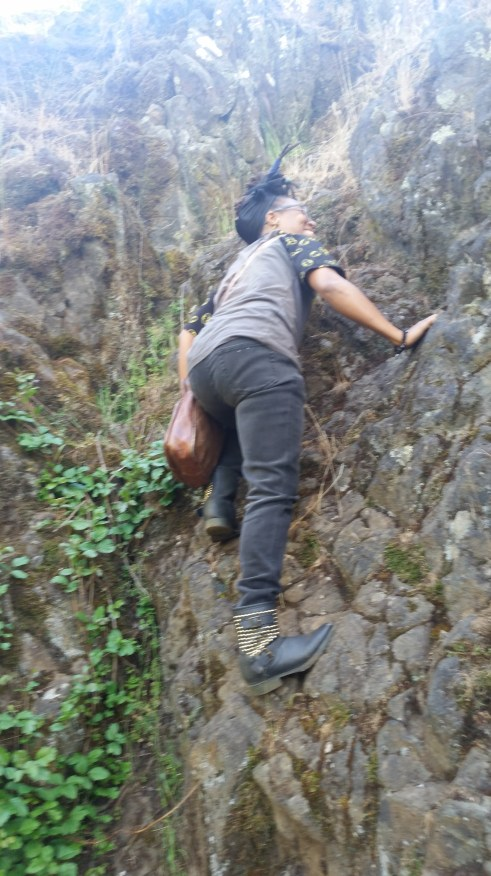 Me Free Climbing a wall off the trail of Table Rock Mountain