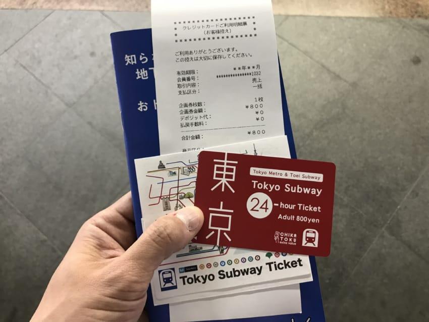 購入直後のTokyo Subway Ticket