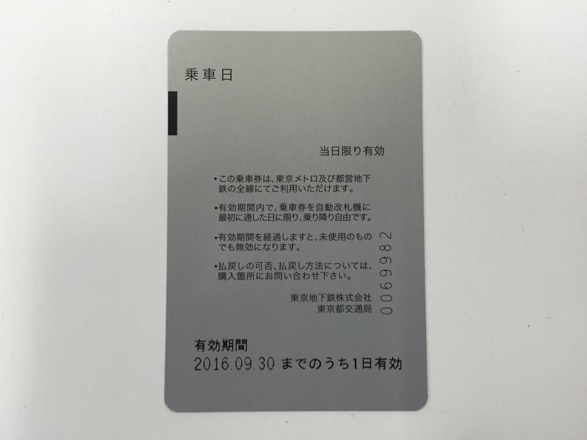 Tokyo Subway Ticket rear
