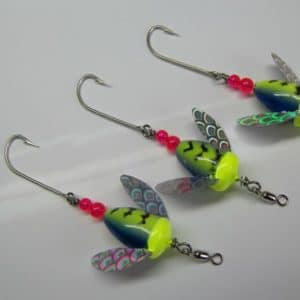 Worden's Spin-N-Glo lures for king salmon, silver salmon, and steelhead