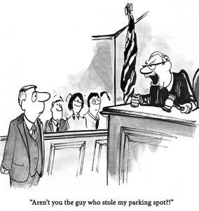 Cartoon of man having stolen judges parking space